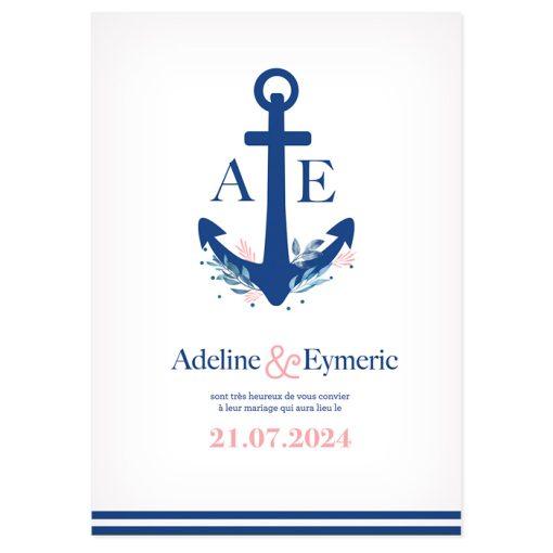 faire-part mariage Mer, ancre de bateau, carte recto verso.