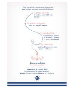 faire-part mariage Mer, thème marin. Décor ancre et barre de bateau.