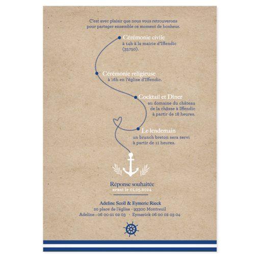 Faire-part mariage marin, programme de la journée sous forme de parcours.
