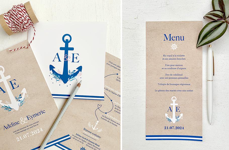 faire-part mariage mer, invitation Bleu marine