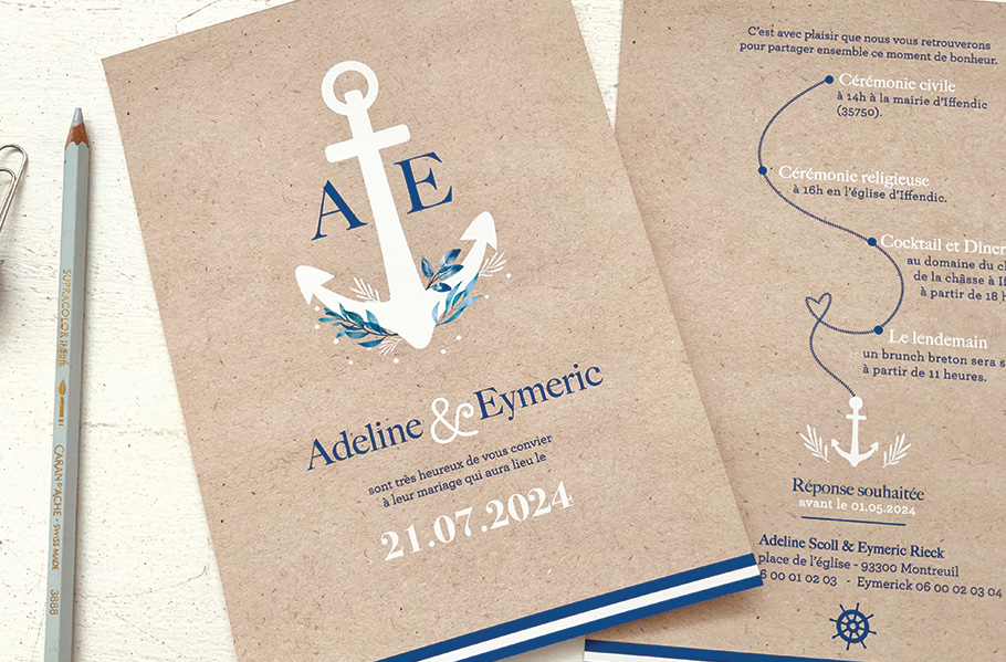 faire-part mariage bleu marine, invitation mariage mer. Ancre de bateau