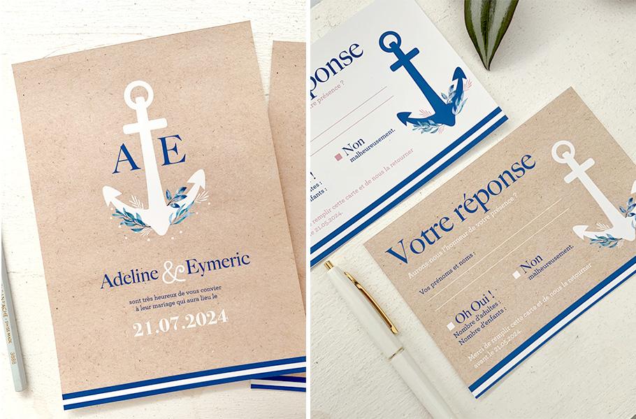 faire-part mariage Mer, invitation avec ancre de bateau. Rayures comme une marinière.