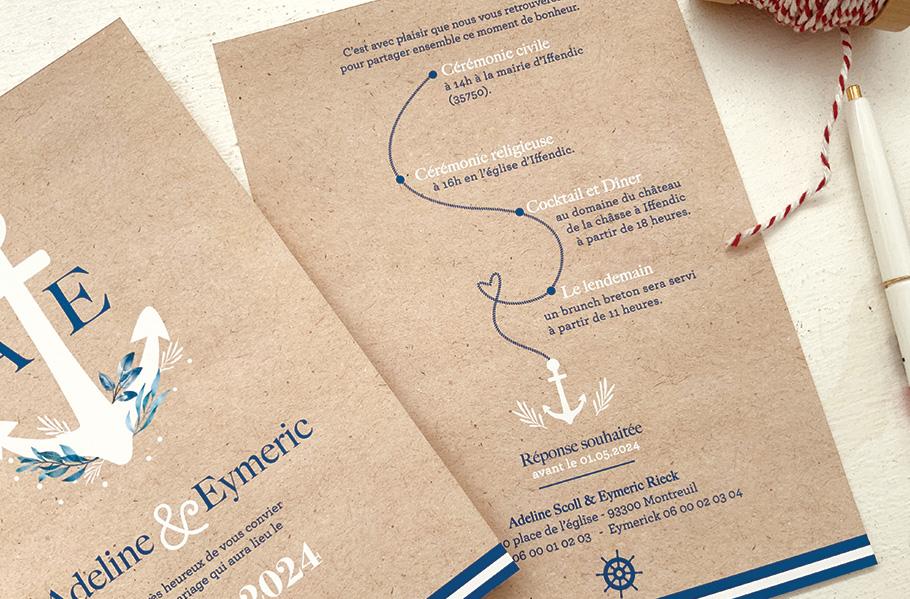 faire-part mariage Mer, invitation mariage nautique. programme de la journée sous forme de parcours.