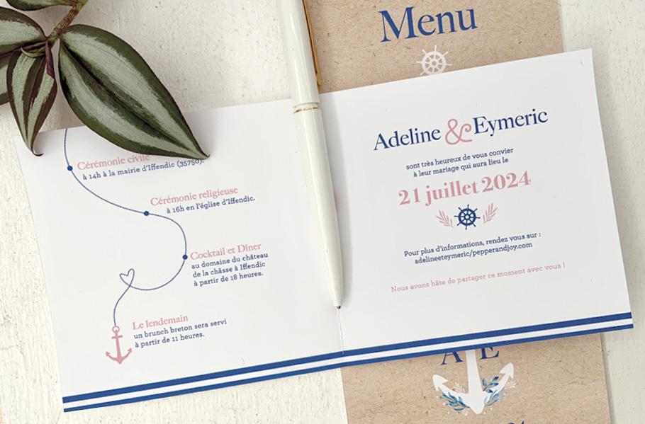 invitation mariage Mer, livret 4 pages. Ancre de bateau