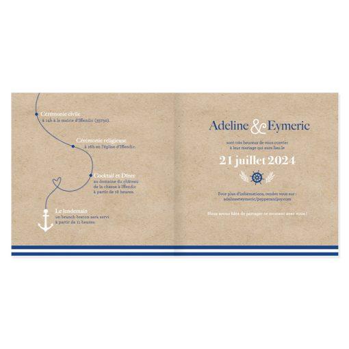 Pages interieures faire-part mariage mer, parcours sous forme de corde de bateau.