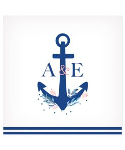 invitation mariage Mer, thème marin, ancre de bateau avec les initiales des mariés.
