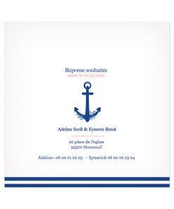 faire-part mariage Mer, ancre de bateau décoré de motifs végétaux. Invitation mariage bleu marine.