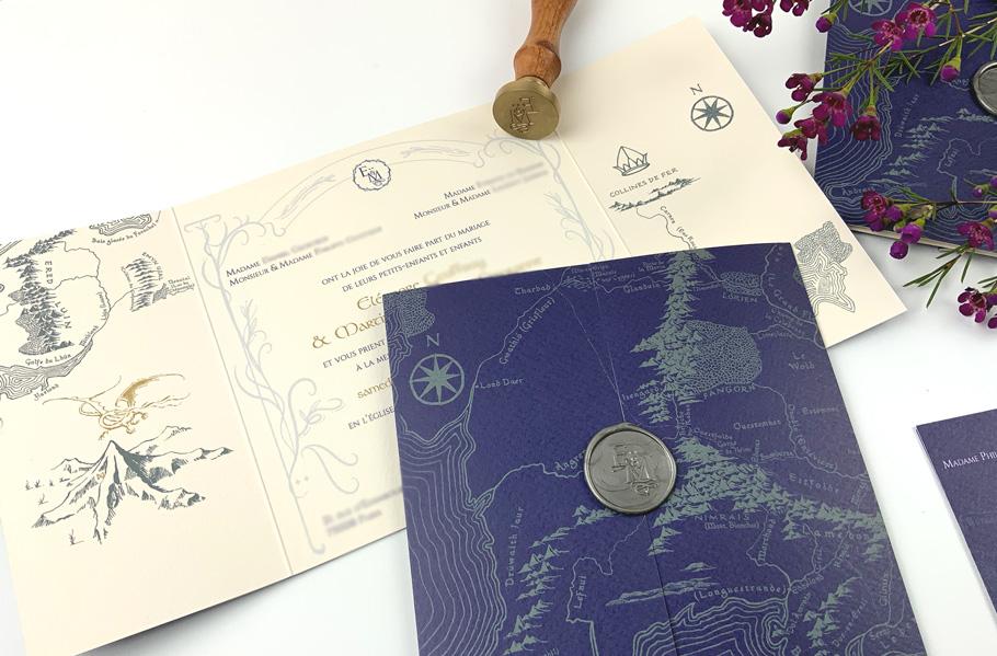 Mariage Tolkien, seigneur des anneaux, faire part et invitation sur mesure