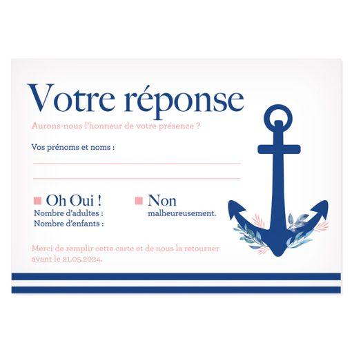 Carton réponse mariage mer, RSVP personnalisé imprimé. Thème marin