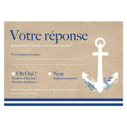 Carton réponse mariage mer, carte postale sur fond kraft