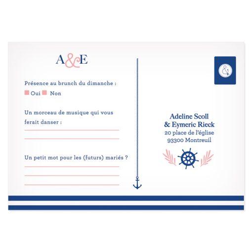 RSVP mariage mer, carton réponse sous forme de carte postale sur le thème de la mer.