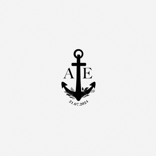 Tampon mariage Mer, ancre de bateau logo de mariage