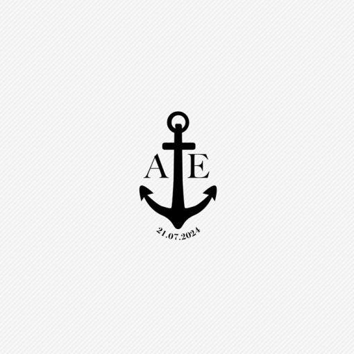 Ancre logo de mariage, tampon mariage Mer personnalisé