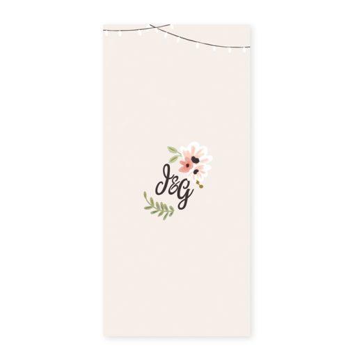 Menu mariage champêtre, carte imprimée personnalisée. Design floral avec guirlande guinguette.