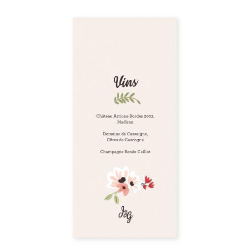 Carte imprimée menu mariage, carte des vins, design champêtre et romantique. Fleurs dessinées