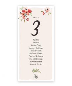 Plan de table mariage bohème, cartes imprimés avec tandem et fleurs