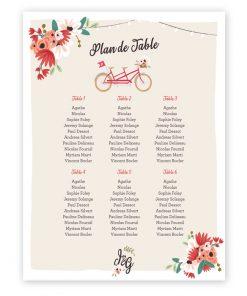 Poster plan de table de mariage, tandem bohème fleurs et végétation.