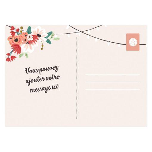 carte remerciements mariage champêtre, carte postale personnalisée