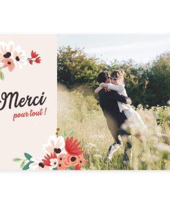 carte de remerciements mariage champêtre, photos avec design de fleurs