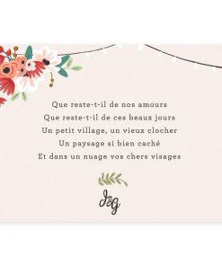 carte de remerciements mariage champêtre photo et texte personnalisé et imprimé