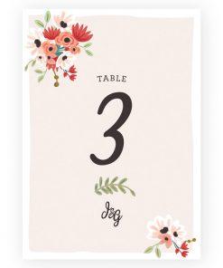Carte numéro de table mariage bohème champêtre