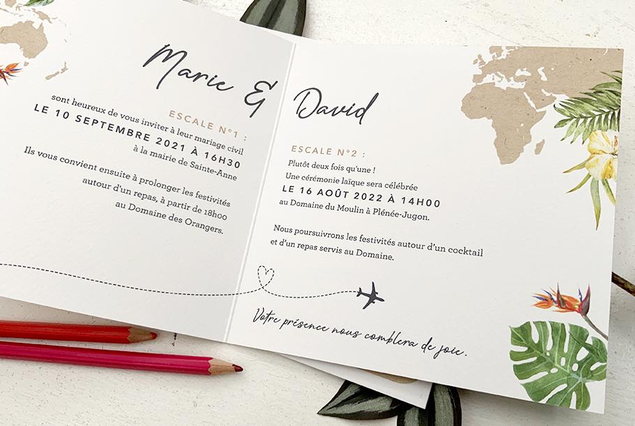 invitation mariage voyage tropical et exotique. Format livret.