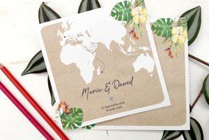 faire-part mariage exotique, invitation au voyage, mariage destination