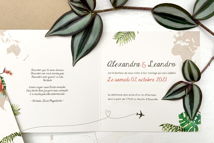 faire-part mariage destination, invitation au voyage tropical et exotique