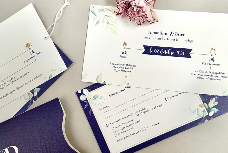 invitation mariage pochette bleue, feuillage et eucalyptus