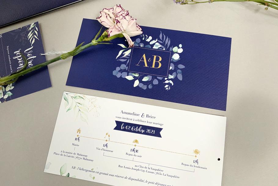 Pochette mariage faire-part personnalisé, bleu, blanc et or