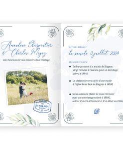 Faire-part mariage livret passeport. Eucalyptus, fond aquarelle, carte du monde.