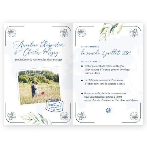 Invitation passeport, mariage voyage. Faire-part avec photo des mariés