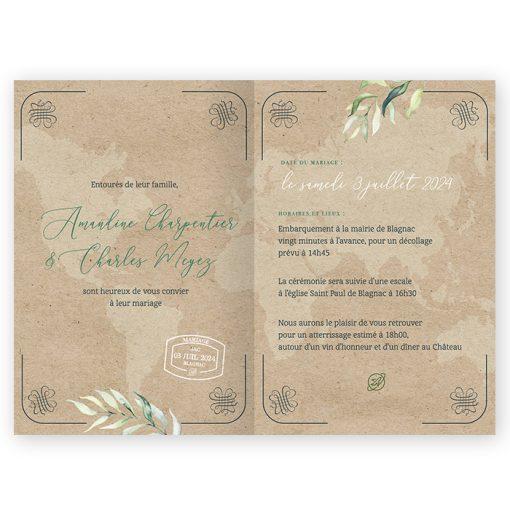 Faire-part mariage passeport kraft, mariage voyage avec végétation aquarelle