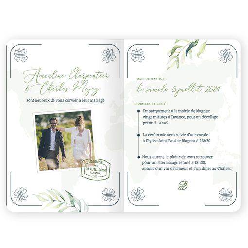 Faire-part mariage Passeport avec photo mariés. Décor aquarelle eucalyptus et branches? Fond carte du monde