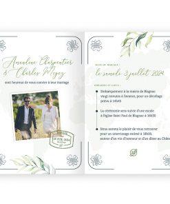 Invitation mariage passeport, thème voyage avec carte du monde. Programme de la journée en itinéraire