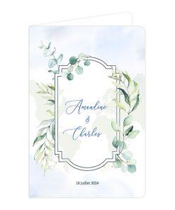 Faire-part mariage passeport, décor végétal floral