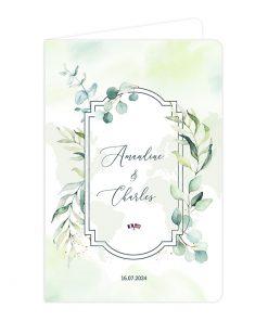 Faire-part mariage Passeport, touches végétales eucalyptus à l'aquarelle