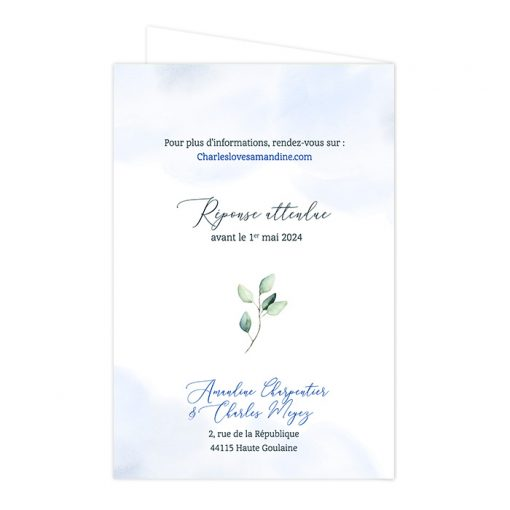Invitation mariage passeport, fond aquarelle bleu et vert
