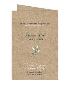 aire part mariage passeport, kraft et eucalyptus à l'aquarelle. Invitation mariage voyage