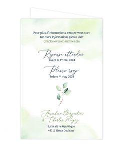 Faire-part mariage passeport, livret feuillage aquarelle, eucalyptus