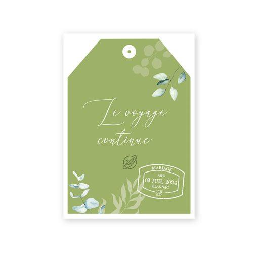 Carton repas, mariage voyage, étiquette bagage, swing tag