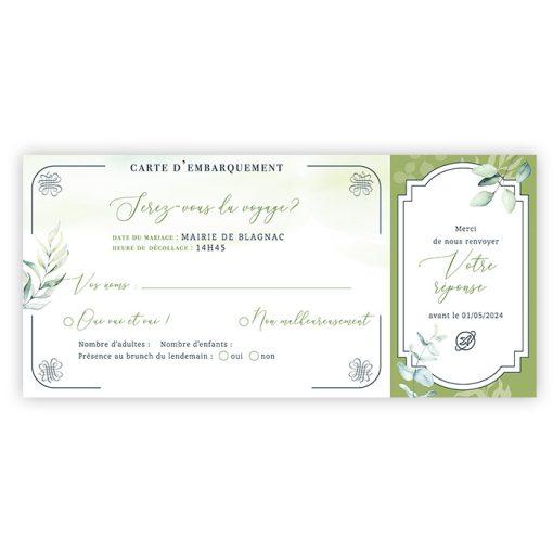 mariage Carte embarquement. Carton réponse faire-part mariage boarding pass, thème voyage