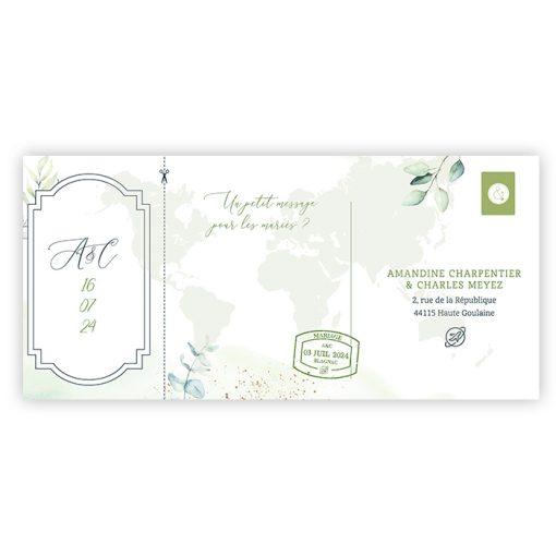 Carton rsvp mariage voyage. Carte d'embarquement, carte postale. Mariage Voyage destination