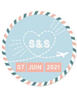 Sticker mariage avion, thème voyage