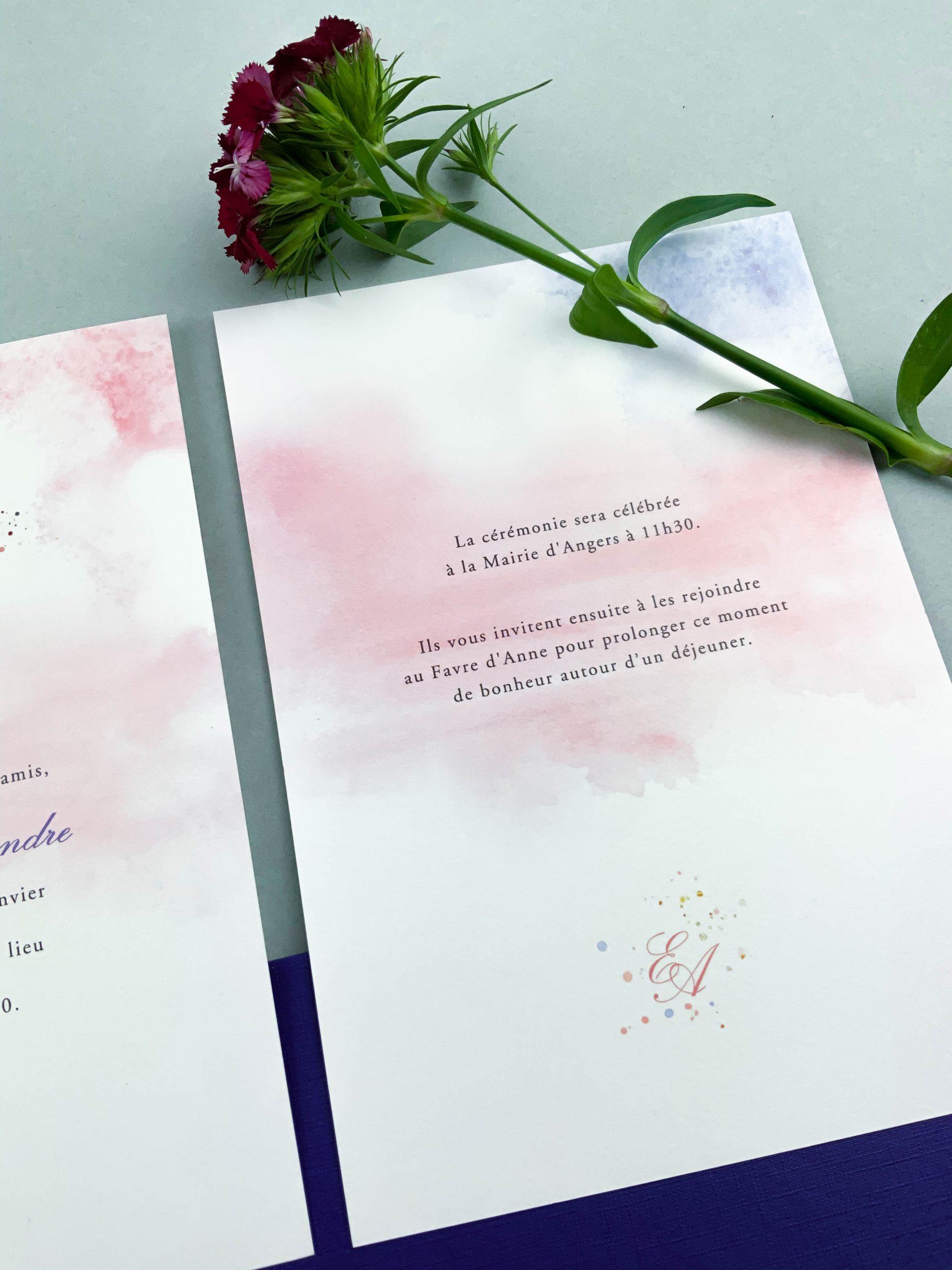faire-part mariage sur mesure aquarelle